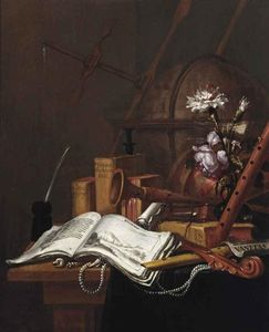 A Vanitas Still Life With An Illustrated Book