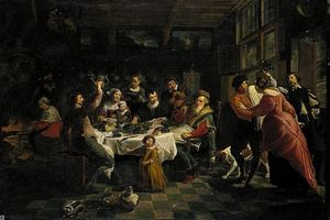 Interior With A Family Feasting And Dancing