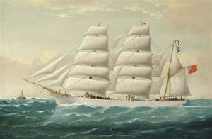 The English Three-masted Barque Antarctic In Full Sail Off The Bishop's Rock Lighthouse In The Channel