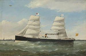The Steam And Sail Vessel S.S. Emiliano At Sea