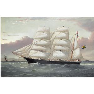 The Three Masted Barque 'framat' Inward Bound For Liverpool Off The Coast Of North Wales