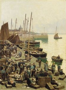 An East Coast Harbour With Fisherfolk