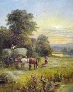 Hurrying The Hay In A River Meadow