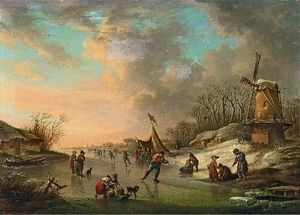 Landscape With Canal And Skaters