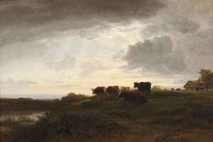 Cattle At The Water's Edge At Dusk