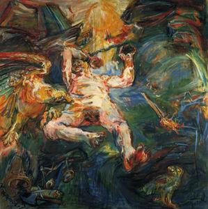 La Saga de Prométhée, Détail panneau de droite, Saga de Prométhée, Detail panel of right-hand side, Détrempe sur toile,