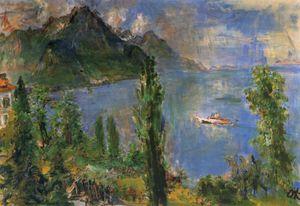 Le Lac de Genève et un bateau à vapeur, The Lake Geneva and a boat with steamer,, Huile sur Toile,