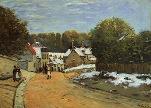 Early Snow at Louveciennes - oil on canvas -