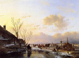 People on frozen river Sun