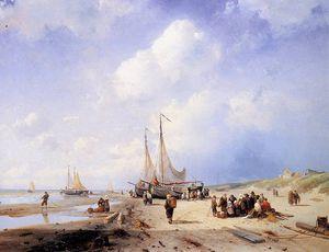 Coastal scene with fisherfolk Sun