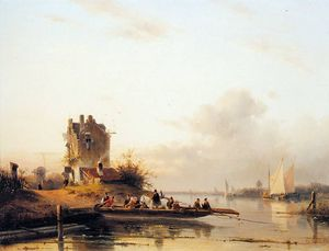 Riverlandscape with ferry Sun