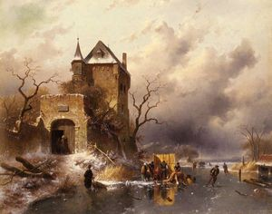 skaters on a frozen lake by the ruins of a castle