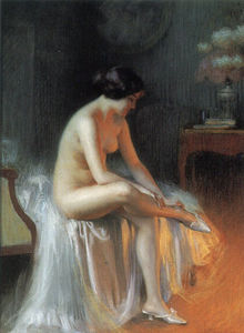 A nude by firelight