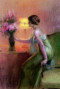 jeune fille devant un bouquet le soir
