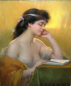 Ritratto di una signora elegante leggere