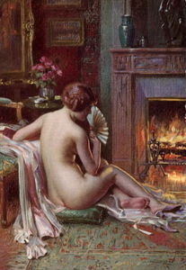 the fire side nude seated beauty