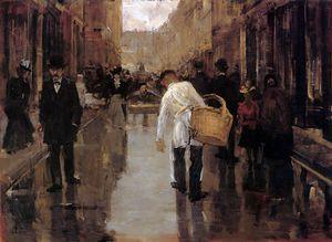 floris butchers boy in street den haag sun