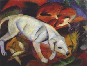 three animals (dog, fox and cat) -
