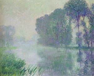 By the Eure River. Afternoon Fog Effect