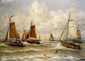 fishing fleet at scheveningen sun