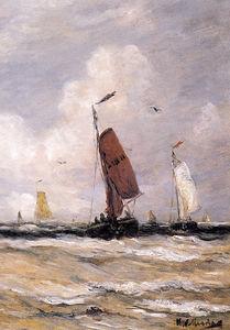 Sea with fishingboats Sun