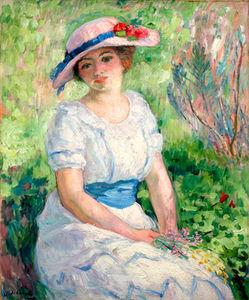 Jeune Femme a la Ceinture Bleue