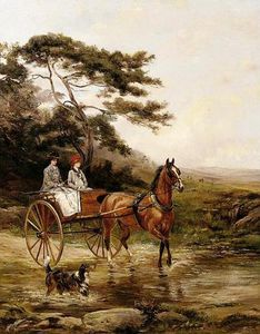 two ladies crossing a woodland stream in a gig