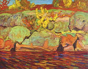 autumn colour (rock and maple) -