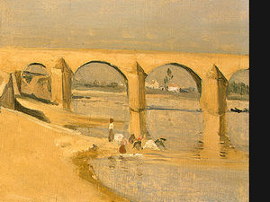 River Scene with Bridge (detail - )