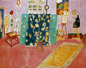 L'Atelier rose Huile sur Toile - (179)