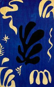 Composition fond bleu Gouache découpée Collection Particulière