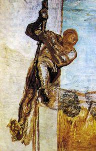 L'Homme à la corde, huile sur toile The Man with the cord, oils on fabric