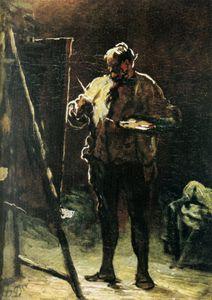 Le Peintre devant son tableau, Huile sur panneau The Painter in front of his table, Oils on panel