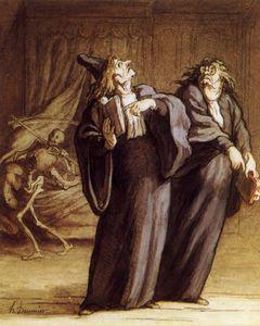 Les Deux médecins et la Mort, crayon noir plume et encre The Two doctors and Death, lead pencil plucks and ink