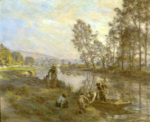 L_Hermitte Leon Augustin Figures by a Country Stream