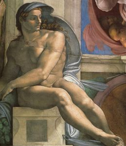 Sistine Chapel Ceiling Ignudi next to Separation of Land and the Persian Sybil