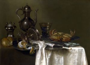 Still Life - Pewter and Silver Vessels and a Crab