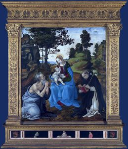 The Virgin and child with St Jerome and Dominic