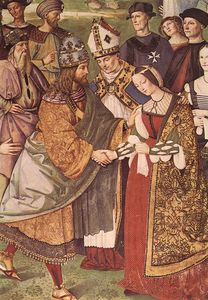 siena - Aeneas Piccolomini Introduces Eleonora of Portugal to Frederick III (detail)