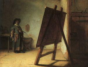 Artist in his studio, oil on panel