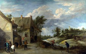 Peasants playing Bowls outside a Village Inn