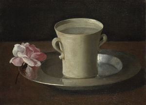 Cup of Water and a Rose on a Silver Plate