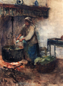 A cottage Interior With A Peasant Woman Preparing Supper