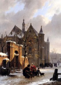A capricio view with figures leaving a church in winter