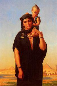 Femme fellah portant son enfant