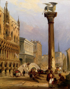 A view of st marks column and the doges palace venice