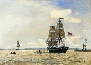 Norwegian Naval Ship Leaving the Port of Honfleur