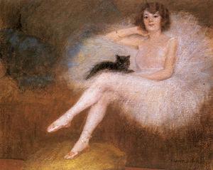 Bailarina con un gato negro