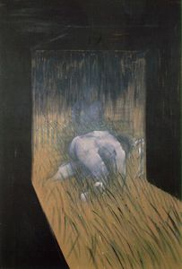 Man kneeling in grass, Private