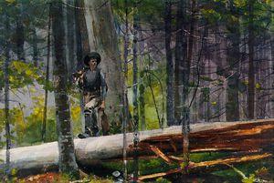 Hunter in Adirondacks, Watercolor over graphite,